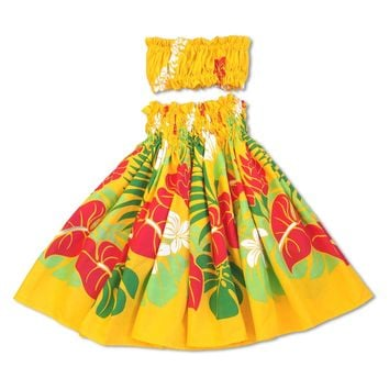 Sweetie Yellow Girl's Pau Hawaiian Hula Skirt Set