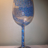 10% OFF - Whimsical Electric Blue Painted Wine Glass