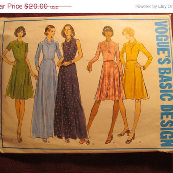 SALE Complete 1970's Vogue Basic Design Sewing pattern, 2979! Size 14 Medium/Women's/Misses/Mid-knee Evening Dress/Fitted Bodice/Cowl Neck/F