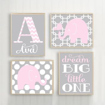 Girl ELEPHANT Nursery Art, Pink Gray Elephant Nursery Wall Art, Baby Girl Nursery Decor, Dream Big Little One, CANVAS or Prints Set of 4