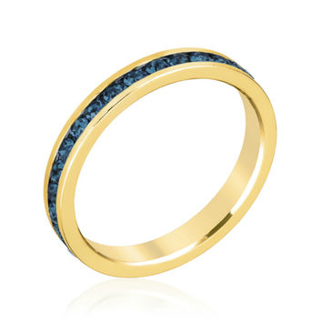 Gail Sapphire Blue Eternity Stackable Ring | 1 Carat | Crystal | 18k Gold