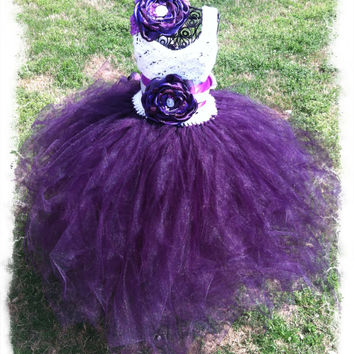 Beautiful TuTu Dress with Crochet Top Set-Girls Wedding TuTu Dress-White and Purple TuTu Dress-Girls Pageant Wear-SZ 2T-6