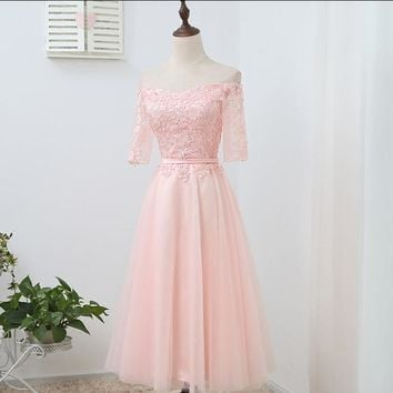 robe de mariage lace sleeve tulle special occasion short boat neck cocktail dress formal tea party dresses size 6 D3936