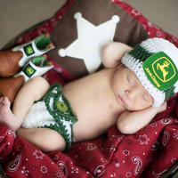 Baby John Deere Hat Newborn up to toddler Photo Prop Tractor Farmer boy or girl SALE baby hat John Deere Beanie