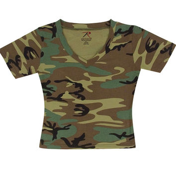 Womens Short Sleeve Camo V-Neck T-Shirt