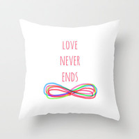 Love Never Ends Throw Pillow by Shawn Terry King | Society6