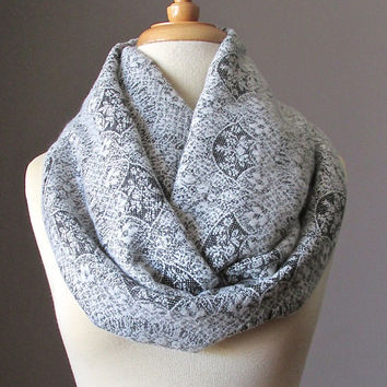 Delicate lace grey scarf,  chunky scarf, winter scarf, womens scarf,  oversized infinity scarf, Light Grey scarf, Birthday, Mothers day gift