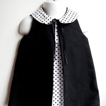 Girls Dress with removable/reversible Peter Pan Collar  - The Coco Dress - French Style - Sizes for Babies, Toddlers and Girls from 6M to 4T