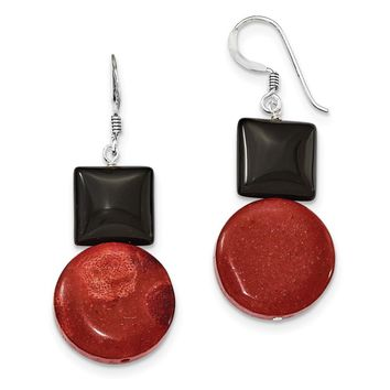 Sterling Silver Black Agate & Red Coral Earrings