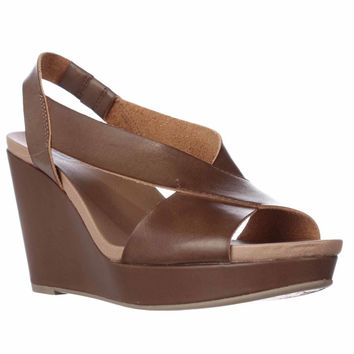 Dr. Scholls Meanit Cross Strap Wedge Sandals - Dark Saddle