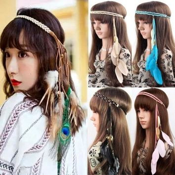 CREYUG3 Womens Vintage Festival Feather Headband Hippie Headband Hair Accessories