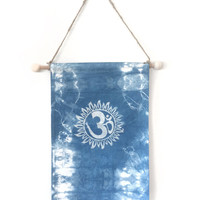 shibori wall hanging, indigo, wall tapestry, om sign, yoga decor, home decor, boho chic, bohemian home decorations, wall art