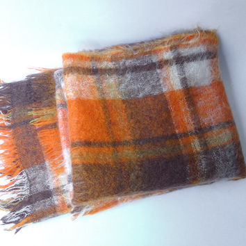 Vintage retro 1980s orange plaid mohair wool picnic travel blanket throw