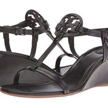 Tory Burch Miller 60mm Wedge Sandal Nappa Leather Black (9)
