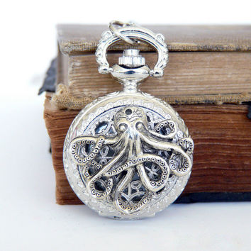 Octopus Pocket Watch Locket Necklace  Silver Jewelry  by 8eleven