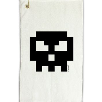 "Retro 8-Bit Skull Micro Terry Gromet Golf Towel 11""x19"