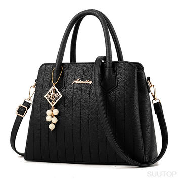 suutoop lady big totes bag women messenger handbag crossbody bag leather pu with nice belt and bead bolsos mujer bolsos mujer
