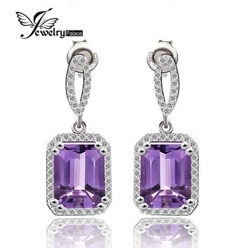 Quality 5.6ct Natural Stone Amethyst Square Drop Earrings For Women Solid 925 Sterling Silver Purple Gemstone Jewelry