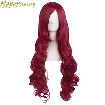 32 Inches Long Wavy Dark Red Color Cosplay Wig Women Ladies Heat Resistant Synthetic hair Halloween Fake Hairpiece MapofBeauty