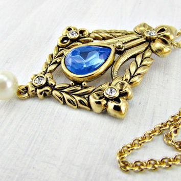 Vintage AVON Long Gold Pendant Necklace, Blue Rhinestone Pearl Necklace, Art Nouveau Floral Necklace, 1970s Vintage Victorian Revial Jewelry