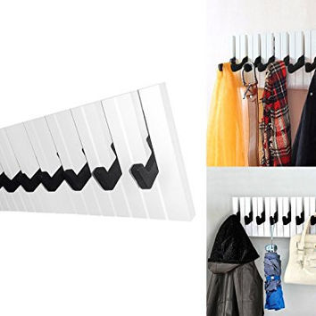Decor Hut Piano 8 Hook Rack, Great for coats, jackets, towel, briefcase, pocketbooks, shopping bags and keys. Organize your home with this musical keyboard coat rack!