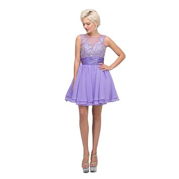 Short Bateau Neck Lilac Dress Chiffon A Line Illusion