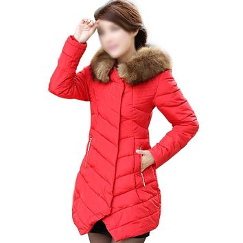 SYB 2016 NEW Womens Winter Faux Fur Trim Hooded Casual Packable Down Jacket Red