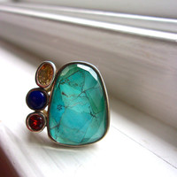 Multi Gem Sterling Silver WHITNEY KELLY Ring, Turquoise Quartz, Citrine, Lapis, Garnet, Vintage sz 11