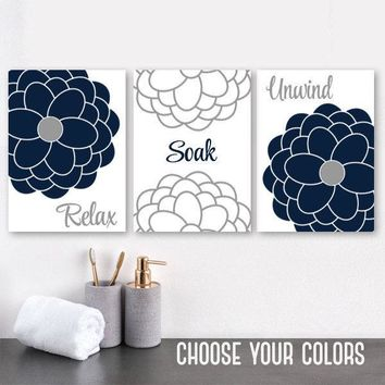 Navy Gray BATHROOM Wall Art, CANVAS or Prints, Navy Gray Bathroom Decor, Relax Soak Unwind Quotes, Flower Bathroom Quotes Artwork, Set of 3