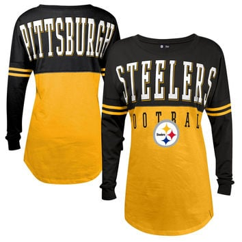 Women's Pittsburgh Steelers 5th & Ocean by New Era Gold Baby Jersey Spirit Top Long Sleeve T-Shirt