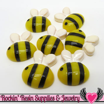6 pc BUMBLE BEE Flatback Decoden Kawaii Cabochons  21x19mm