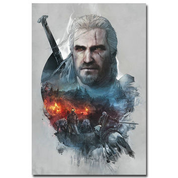 """Geralt - The Witcher 3 Wild Hunt Hot Game Art Silk Fabric Poster Print 12x18 32x48"""" Pictures for Home Wall Decor 002"""