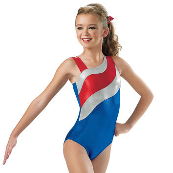 Patriotic One-Shoulder Gymnastic Leotard; Balera