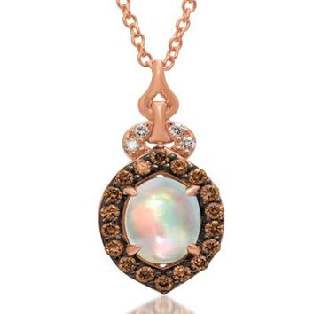 LeVian 14K Strawberry Gold Chocolate Diamond Opal Pendant®