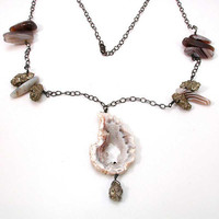 Druzy Agate Pyrite Silver Necklace with by SwankMetalsmithing