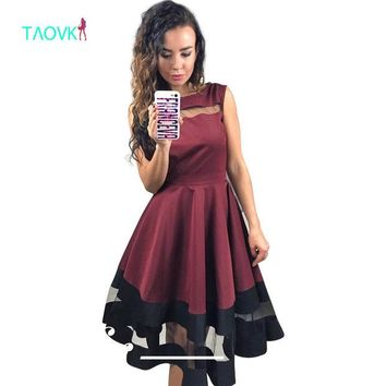 DCCKF4S TAOVK 2016 new fashion Russian style Women Red wine color dress sleeveless High waist large Swing dress