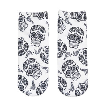 Unisex 3D Skulls Printing Slippers Socks For Men Women Fashion Cute Funny Men Socks Ankle Socks Boat Socks Black White 1Pairs