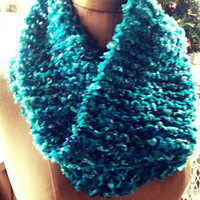 Hand Knitted Cowl. Beautiful Variegated Turquoise.