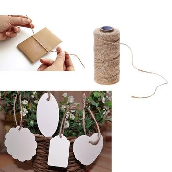 100M Natural Jute Handmade Woven Hemp Rope Gift Box Photo Frame String Rope Craft Wedding Tags Wraps Decoration Ornament