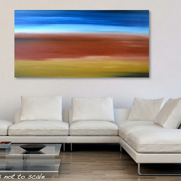 "HUGE 48"" Abstract Landscape Desert Painting - Acrylic Canvas Large Art - Yellow Ohcre, Burnt Sienna, Blue - 48 x 24: Uluru 2 - FREE Shipping"