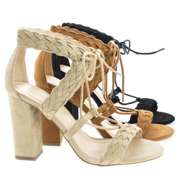Luciana91 By Wild Diva, Open Toe Lace Up Block High Heeled Sandals