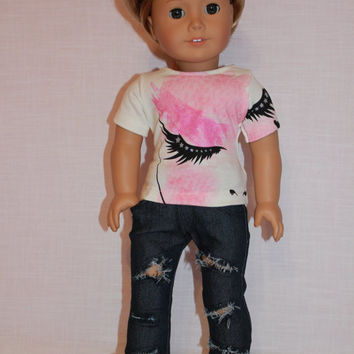 18 inch doll clothes, graphic print Eyelash t- shirt, dark wash ripped skinny jeans, american girl ,maplelea