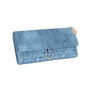 Womens Trifold Zipper Woven Large Capacity Wallet Ladies Clutch Purse Handbag RFID Blocking Blue