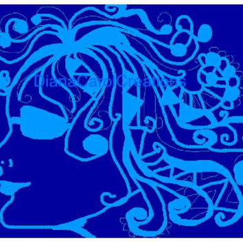 Cool Blue Hippie Style Art For A Teens Pad..Ready Printable Graphic Art For Your Home Decor Or Other Art Projects