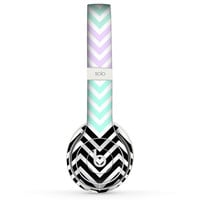 The Light Teal & Purple Sharp Black Chevron Skin for the Beats by Dre Headphones (All Versions Available)