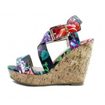 Delicious Baymist-S Black Floral Open Toe Buckle Criss Cross Wedge wowtrendz