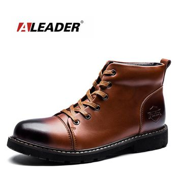 ALEADER Luxury Brand Ankle Boots Genuine Leather