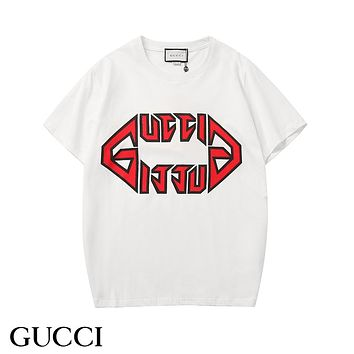 GUCCI 2019 early spring new tide brand letter logo printing couple models round neck short-sleeved T-shirt White