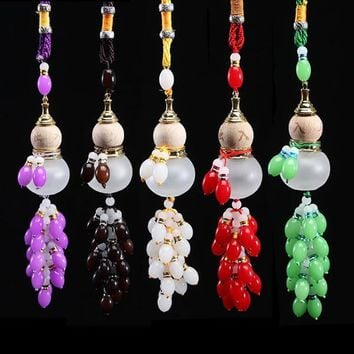 Car Pendant Perfume Bottle Colored Jade Crystal Beads Gourd Safe Glass Car Interiors Accessories Auto Decoration Air Freshener