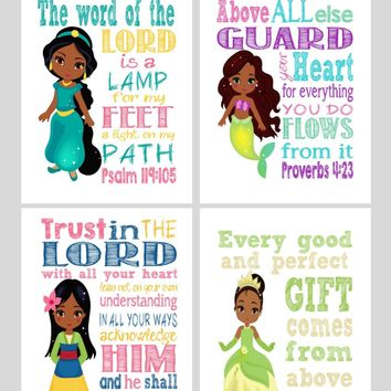African American Princess Set of 4 - Christian Nursery Decor Wall Art Print - Ariel, Jasmine, Tiana , Mulan - Bible Verse - Multiple Sizes